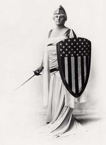 Woman with sword and america shield